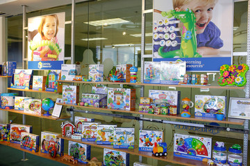 Toys 'R' Us vendor Learning Resources toys are displayed at the warehouse in Vernon Hills,