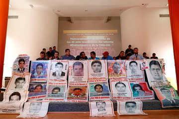 Relatives of the 43 students of Ayotzinapa hold a news conference in Mexico City
