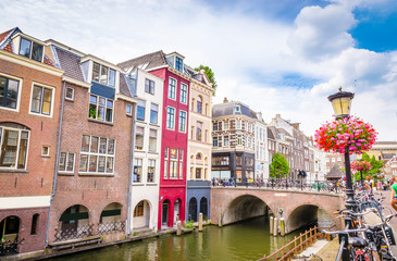 Traditional houses on the Oudegracht (Old Canal) in center of Utrecht, Netherlands