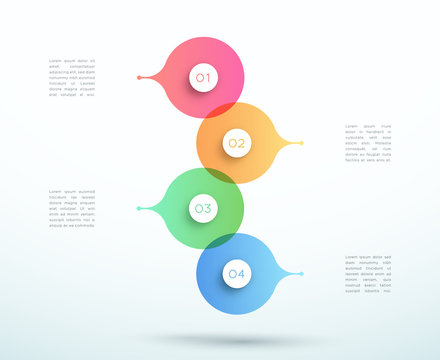 Abstract Vector 3d Stacked 4 Step Circle Infographic