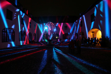 A light installation is seen during the Festival of Lights in Zagreb