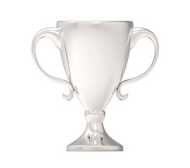 Silver trophy. 3D image isolated on white background