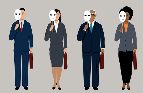 Diverse job candidates hiding behind masks as a metaphor for eliminating bias in hiring process, EPS 8 vector illustration