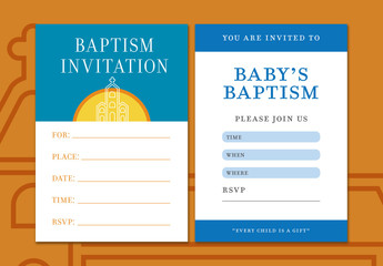 Baptism Invitation Layout with Church Illustration 1