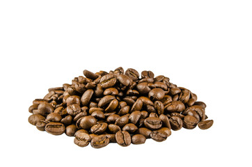 Coffee beans, scattered, on isolated white background.