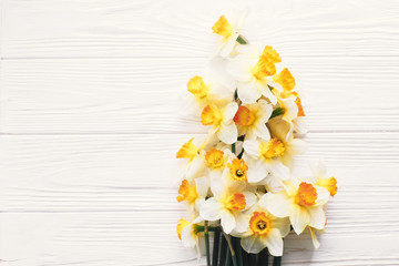 beautiful fresh daffodils on white wooden background top view. hello spring image with bright yellow flowers border on rustic wood with space for text, flat lay. floral greeting card