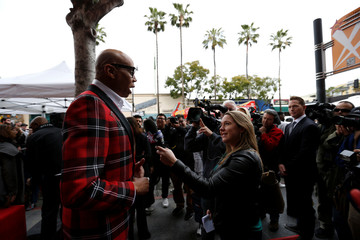 Television personality and drag queen RuPaul is interviewed after unveiling his star on the Hollywood Walk of Fame in Los Angeles