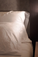 Bed pillows in a five star hotel
