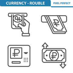 Rouble / Ruble Icons. Professional, pixel perfect icons depicting various Russian Ruble / Rouble currency concepts. EPS 8 format.