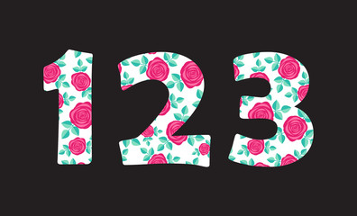 Numbers 1 2 3 of beautiful cute spring hand drawn roses isolated on black background. Element of floral digit. Perfect for anniversary, wedding decoration etc. Vector illustration, numeral element