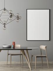 Mock up poster, Dinning room Scandinavian design, 3d render, 3d illustration