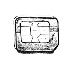 The sim card drawn by hand.  Nice modern illustration. Phone chip.  Black and white.