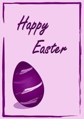 Osterkarte mit gestreiften Ostereiern und dem Text Happy Easter in violetten Farben. Eps 10 Vektor Datei