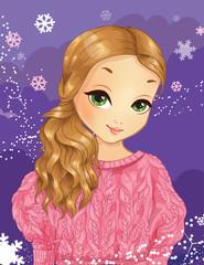 Winter Beautiful Girl In Pink Sweater