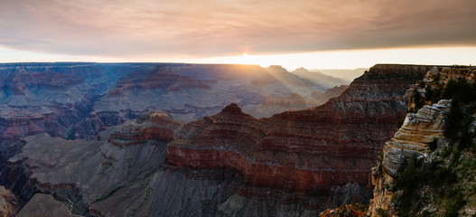 Panoramic sunrise over Mather point, Grand Canyon, USA