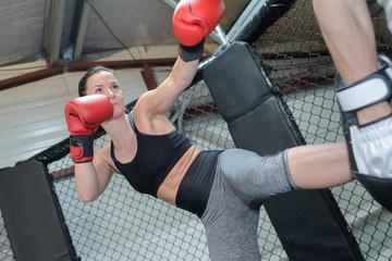 woman kick boxing