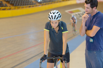 Woman psyching up for cycling contest