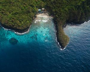 Aerial shots of Padangbai area in Bali
