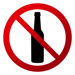 """Circular, """"Drinks are not allowed"""" sign. Red gradient sign, bottle silhouette. Isolated on white"""