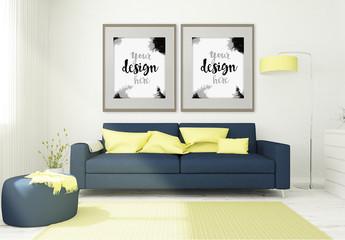 2 Framed Mockups in 3D Living Room Rendering