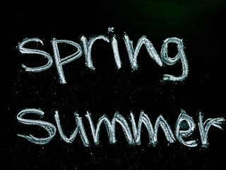 spring summer text on blackboard isolated