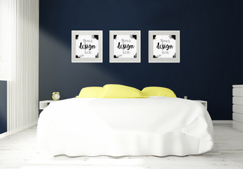 3 Framed Mockups in 3D Bedroom Rendering