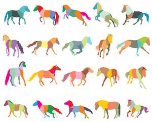 Set of mosaic colorful horses-3