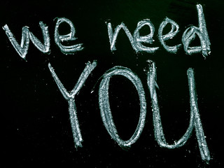 we need you text on blackboard isolated