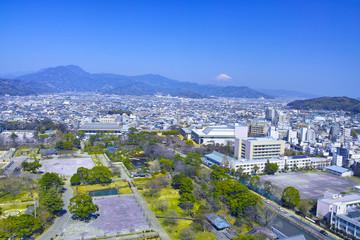 静岡市の駿府城公園と富士山