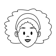 Young woman face cartoon vector illustration graphic design