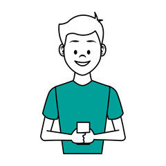 Young man with smartphone vector illustration graphic design