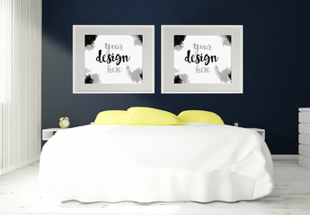 2 Horizontally-Framed Mockups in 3D Bedroom Rendering