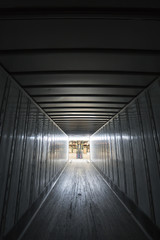 Trailer interior at warehouse loading dock