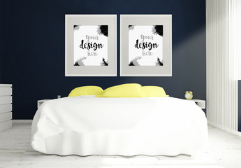 2 Vertically-Framed  Mockups in 3D Bedroom Rendering