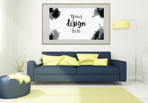 Framed Canvas Mockup in 3D Living Room Rendering