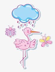 Cute stork with butterflies cartoons