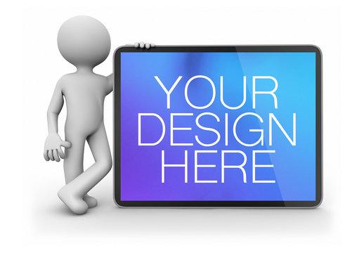3D Character Leaning on Horizontal Tablet Mockup