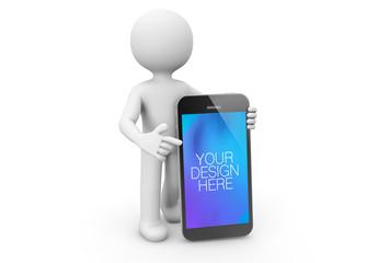 3D Character Pointing at Smartphone Mockup
