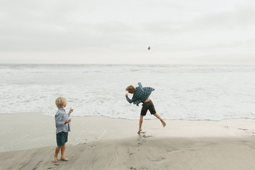 Two Young Boys Throwing Rocks into the Ocean