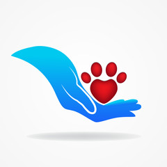 Logo blue hand caring a paw print dog in a heart shape