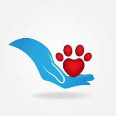 Hand and paw print of a pet icon logo vector
