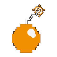Pixelated bomb symbol vector illustration graphic design