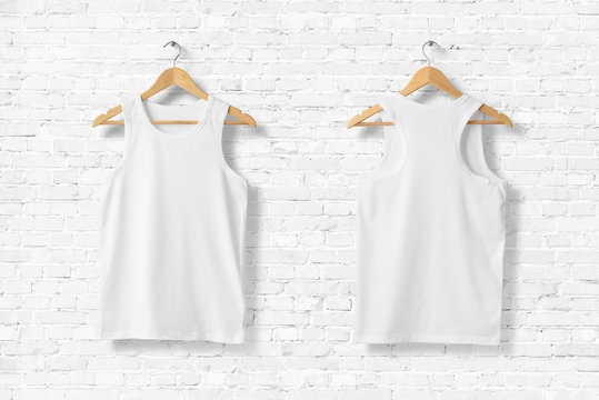 Blank White Tank Top Shirt Mock-up on wooden hanger, front and rear side view. 3D Rendering.
