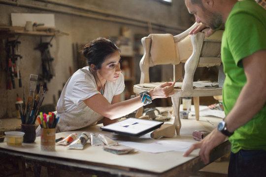 Furniture designer at her workshop