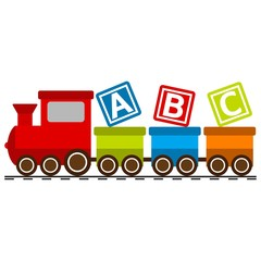 Vector illustration of a toy train with a b c letters