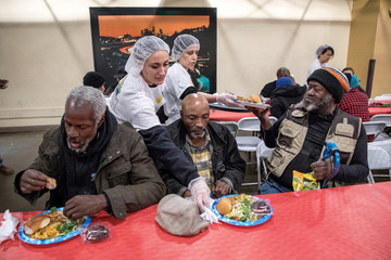 Iranian-Americans serve food to the homeless on Skid Row for Nowruz