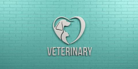 Veterinary Dog and Cat Logo. Wall Design. 3D Render Illustration