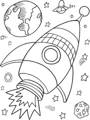 Outer Space Rocket Vector Illustration