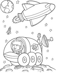Door stickers Cartoon draw Outer Space Vector Illustration Art