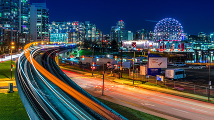 Long exposure of downtown Vancouver, Canada. Wall mural